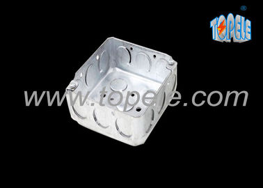 Galvanized Steel Electrical Boxes And Covers / 4 Inch Square Conduit Boxes with Knockouts