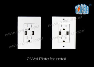 China Smart High Speed USB Charger 15A Tamper - Resistant Outlet Indoor Use Only supplier