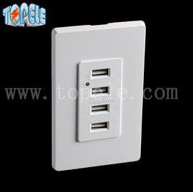 China White Usb Wall Outlet , Usb Electrical Outlet 4 USB Ports With 2 Wall Plates supplier