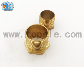 China Brass Flex Metal Conduit Fittings Long / Short Male Threaded Hexagon Bush factory